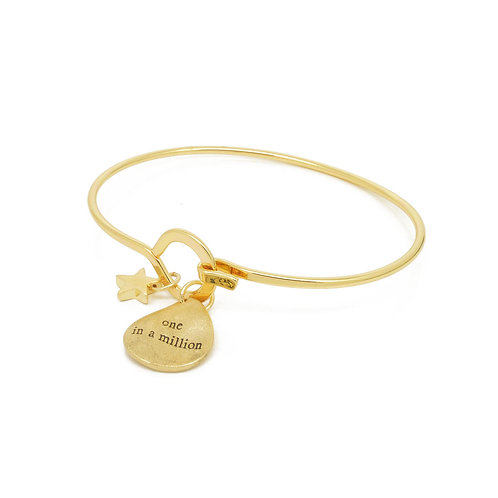 White leaf gold plated 'one in a million'bracelet