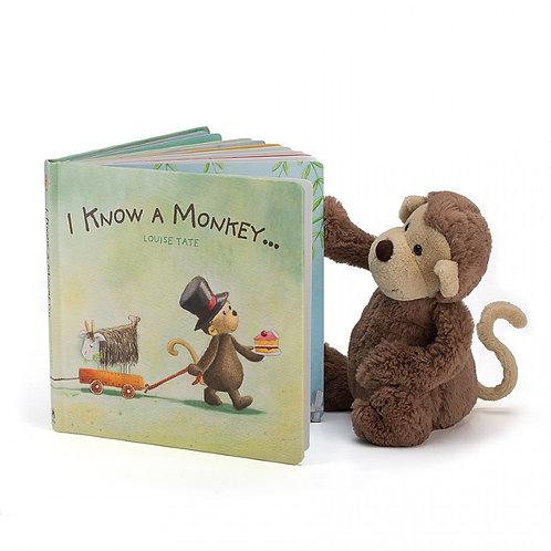 Jellycat I Know a Monkey Picture Book+ Bashful Monkey (sold separately)