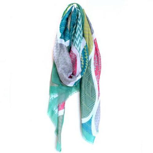 Pom green mix multiprint teardrop scarf