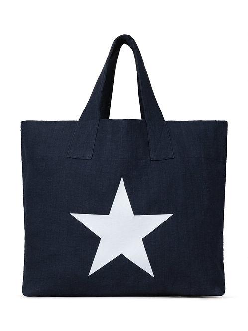 Chalk navy natural fibre shopper with giant star print