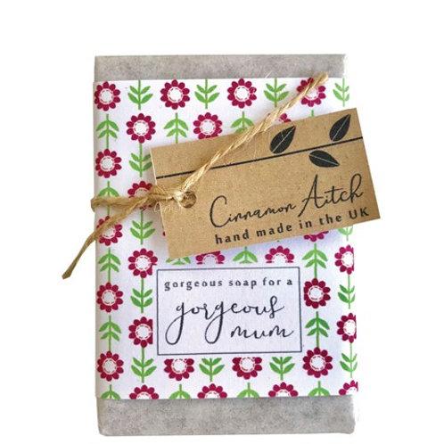 Cinnamon Aitch 'gorgeous mum' patcholi and sandalwoodbar soap