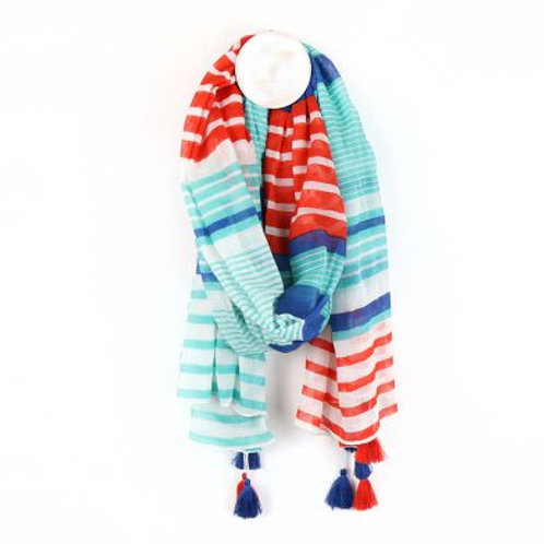 Pom aqua, blue and red striped scarf with tassles