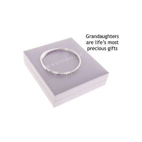 "Equilibrium ""Granddaughters are life's most precious gifts"" Silver Bracelet"