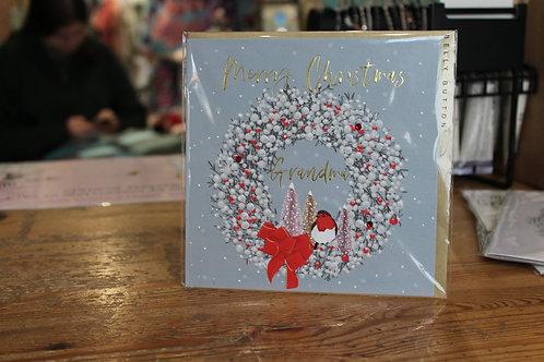 'Merry Christmas Grandma' Snowy Wreath Christmas Card
