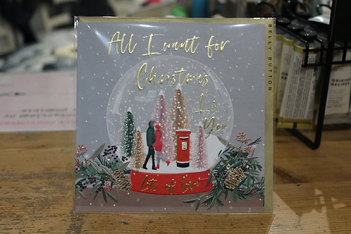 Belly Button 'All I want for Christmas' Snow Globe Christmas Card