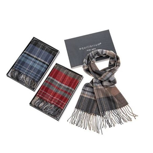 Equilibrium Men's Checked Pattern Double Sided Soft Feel Scarf