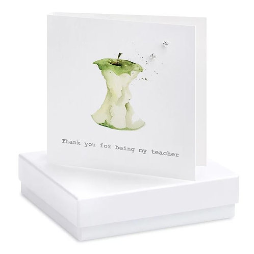 Crumble and core 'thank you for being my teacher' boxed earring card