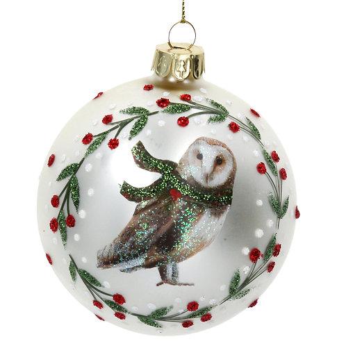 Gisela Graham Owl Wreath Christmas Bauble