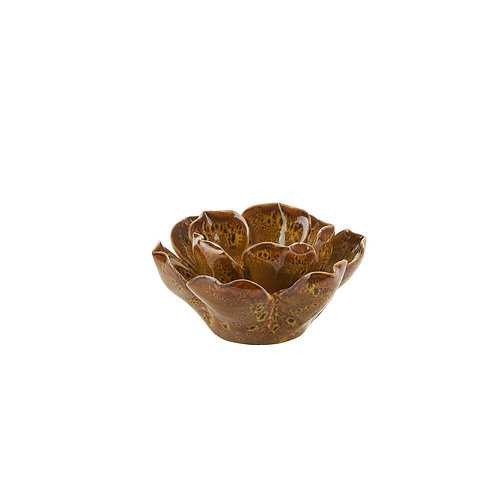 Bahne ceramic flower t-light holder in brown
