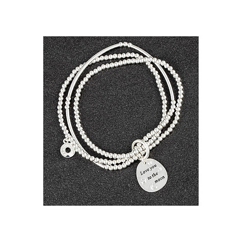 Equilibrium 'love you to the moon' silver plated bracelet