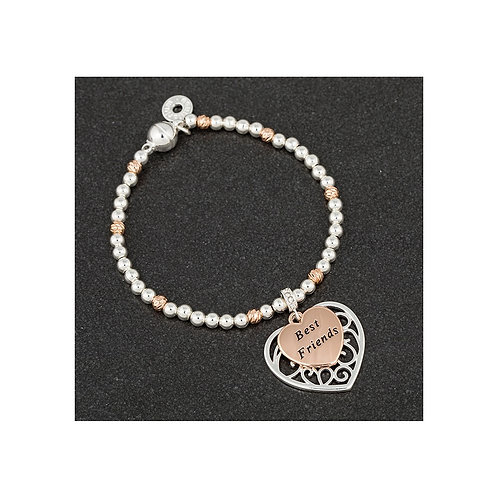 Equilibrium 'best friends' silver/rose gold plated bracelet