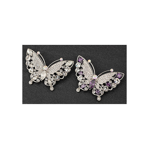Equilibrium silver and lilac butterfly brooches