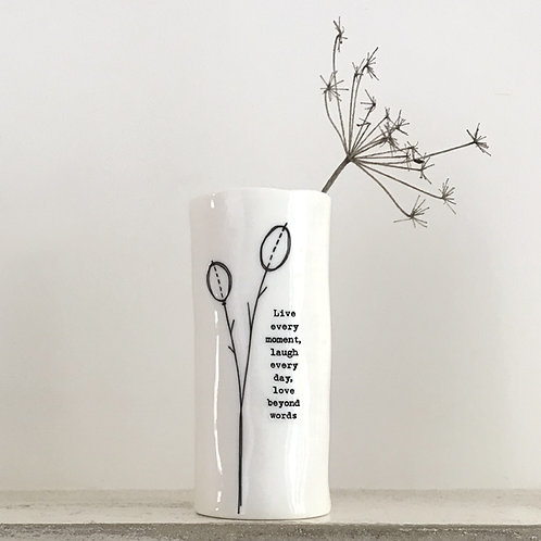 East of india 'live laugh love' boxed porcelain medium vase