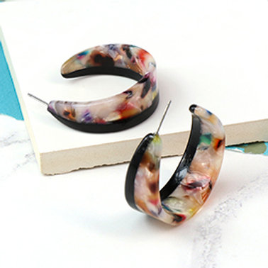 Multicoloured resin wide crescent hoop earrings