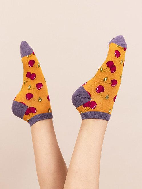 Powder Mustard Cherry Print Bamboo Trainer Socks