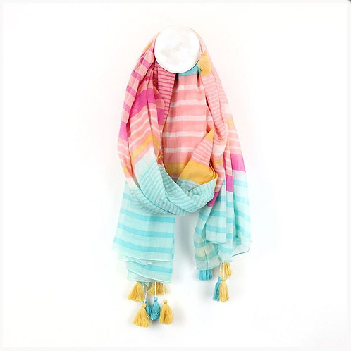 Pom aqua, pink and mustard striped scarf with tassles