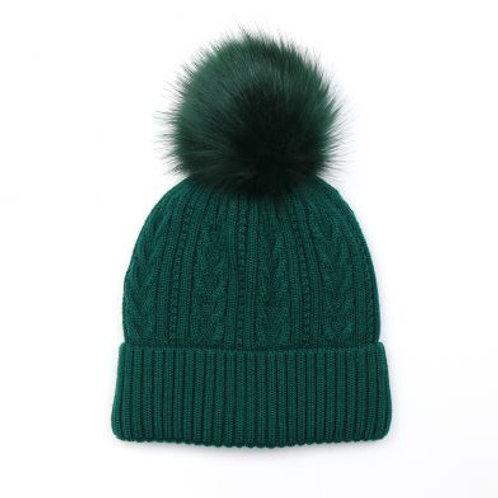 Pom Green Faux Fur Cable Knit Bobble Hat