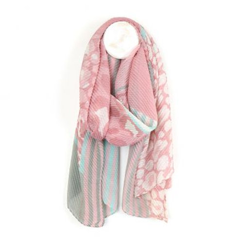Pom pink and grey multi patch animal print crinkle scarf