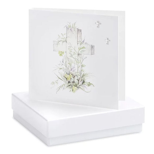 Crumble and core garden cross boxed earring card