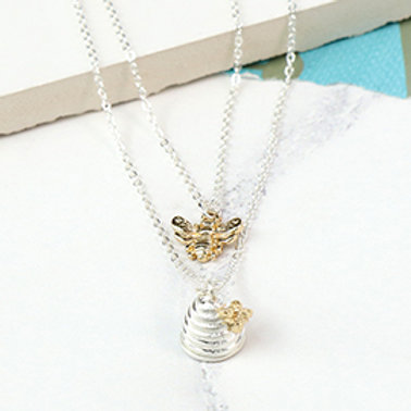 Pom silver plated layered necklace with bee and beehive