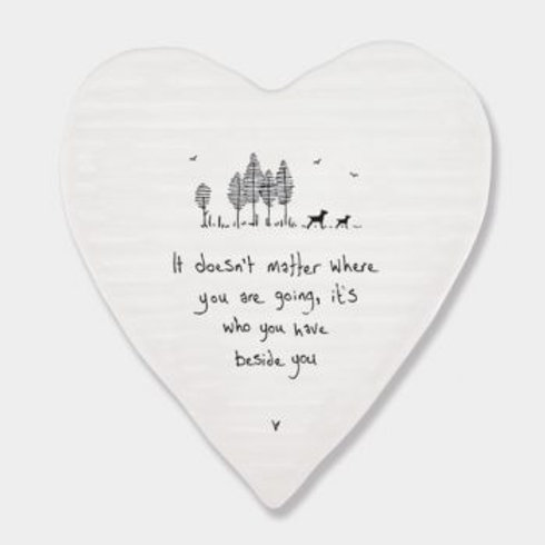 East of India 'it doesn't matter where' porcelain heart coaster