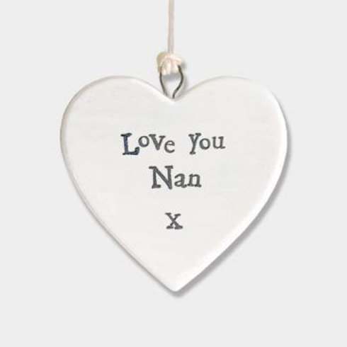 East of india 'love you nan' porcelain hanging small heart