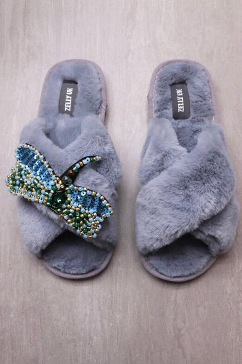 Zelly blue/grey fur slipper with removable dragonfly brooch