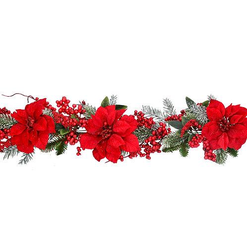 Gisela Graham Red Flower Christmas Garland