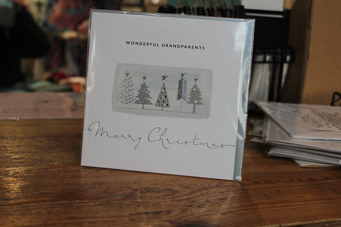 'Wonderful Grandparents Merry Christmas' Pine Trees Christmas Card