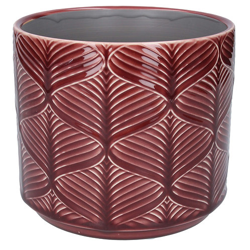 Gisela Graham Wavy Patterned Pot Cover - Red