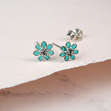 Pom silver and aqua enamel daisy crystal earrings
