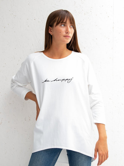 Chalk white robyn top with 'be happy' script