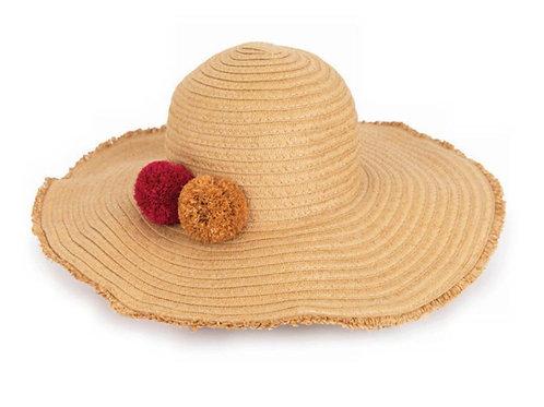 Powder natural pompom lana hat
