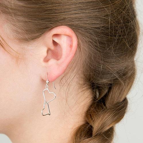 Jambo jewellery sterling silver linked heart earrings