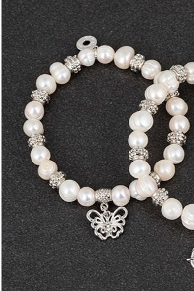 Equilibrium Fresh Water Pearl Butterfly Bracelet