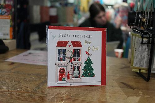 'Merry Christmas Mum & Dad' Red Christmas Card