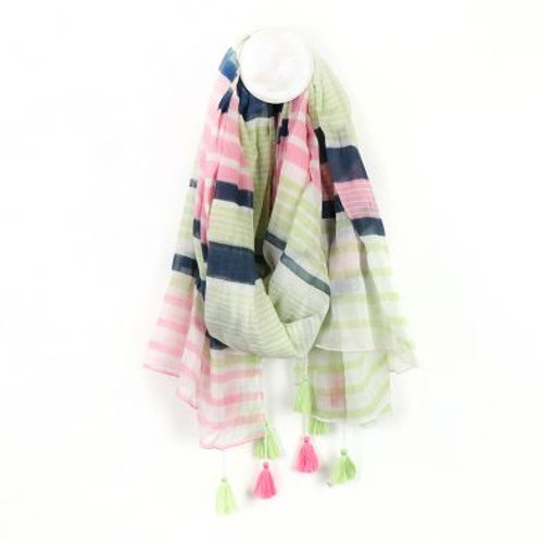 Pom pink, grey and mint green striped scarf with tassels