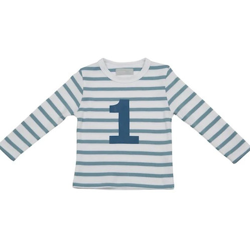 Bob and blossom ocean blue and white breton striped number 1 long sleeve t-shirt