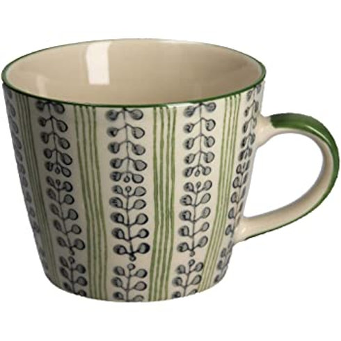 Gisela Graham Green and Blue Pattern Ceramic Mug