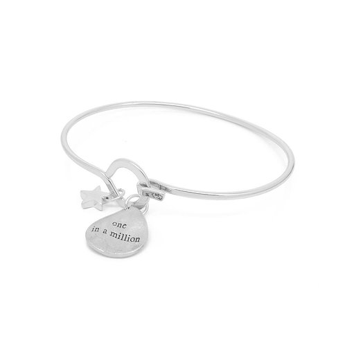 White leaf silver plated 'one in a million'bracelet