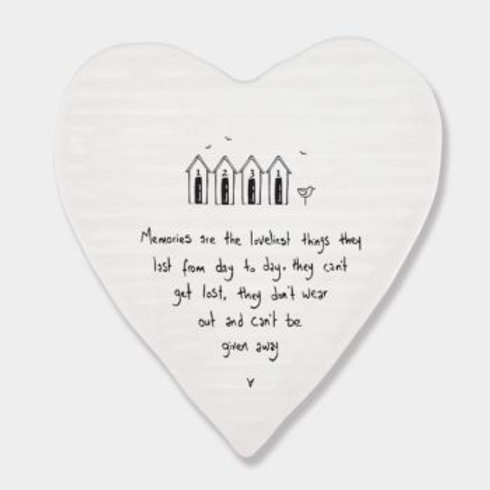 East of India 'memories are the loveliest things' porcelain heart coaster