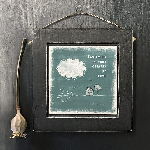 East of india 'family is a word' small hanging wooden frame