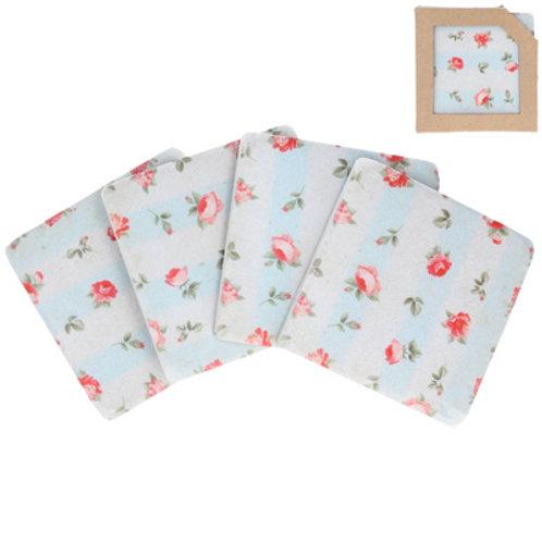 Gisela Graham Set of 4 Pink Rose Patterned Tile Coasters