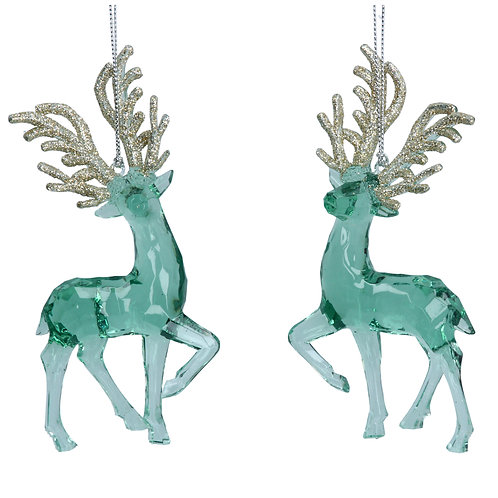 Gisela Graham Glass Reindeer Christmas Decoration