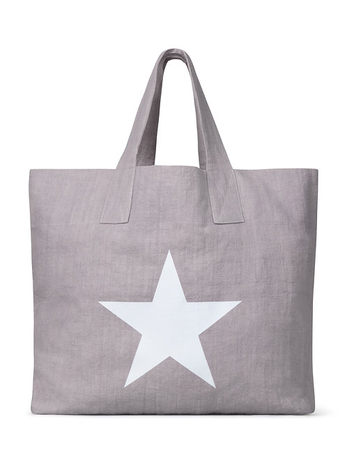 Chalk silver natural fibre shopper with giant star print