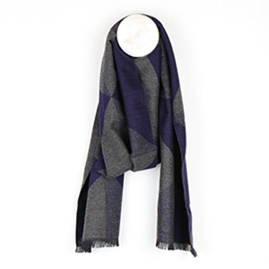 Pom grey and blue mix fringed winter scarf