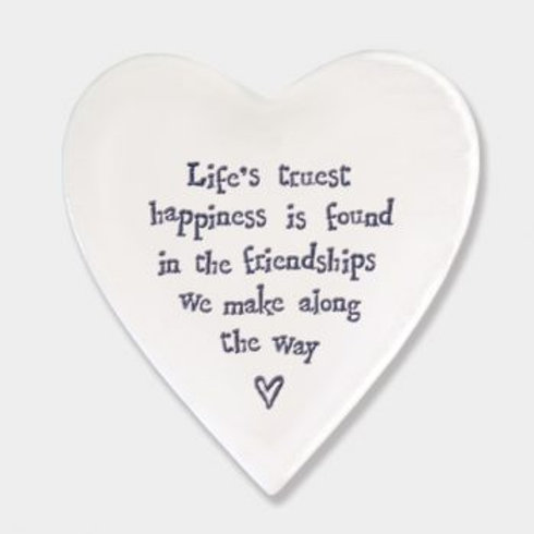 East of India 'life's truest happiness' Porcelain heart coaster