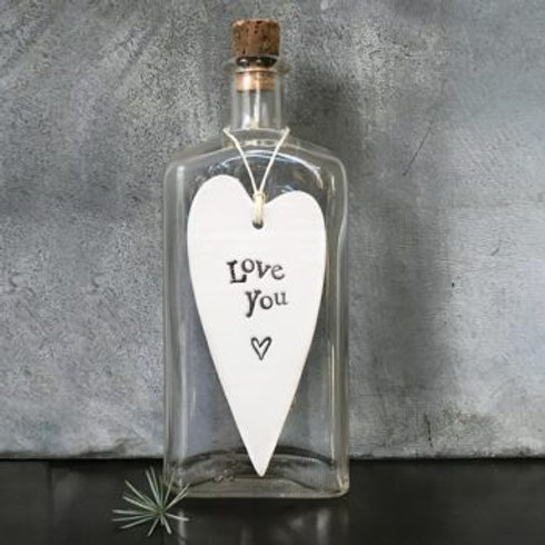 East of india 'love you' porcelain hanging heart