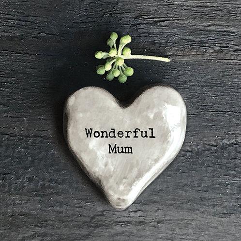 East of india 'wonderful mum' grey heart token