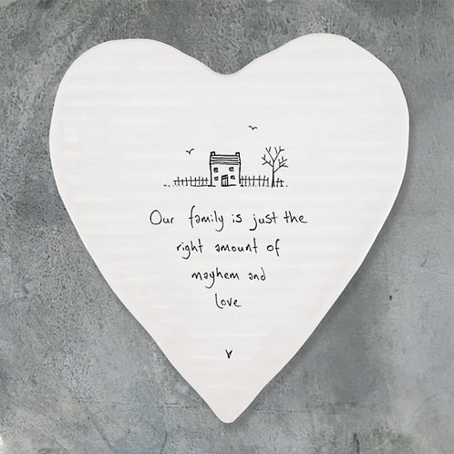 East of india 'our family is just the right' porcelain boxed heart coaster